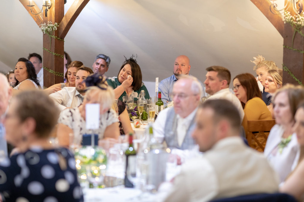 tearful guest dinner reception speech oaks farm wedding venue surrey oxfordshire wedding photography