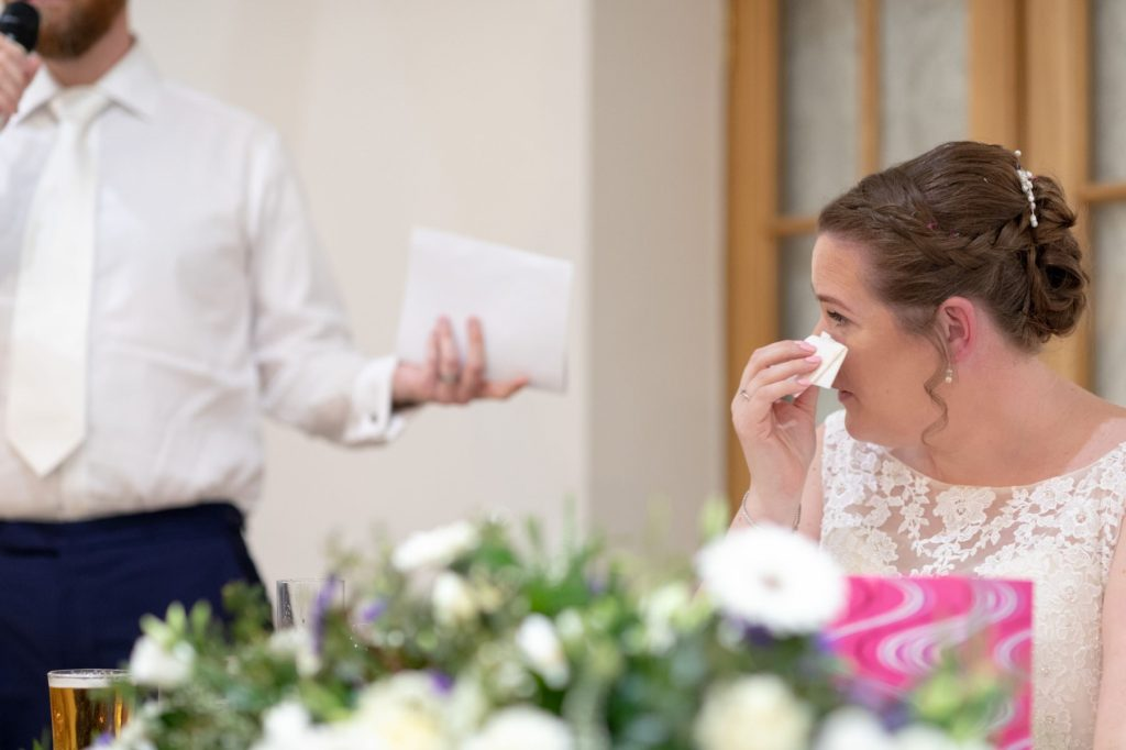 bride weeps at bestman speech oaks farm wedding venue surrey oxford wedding photography