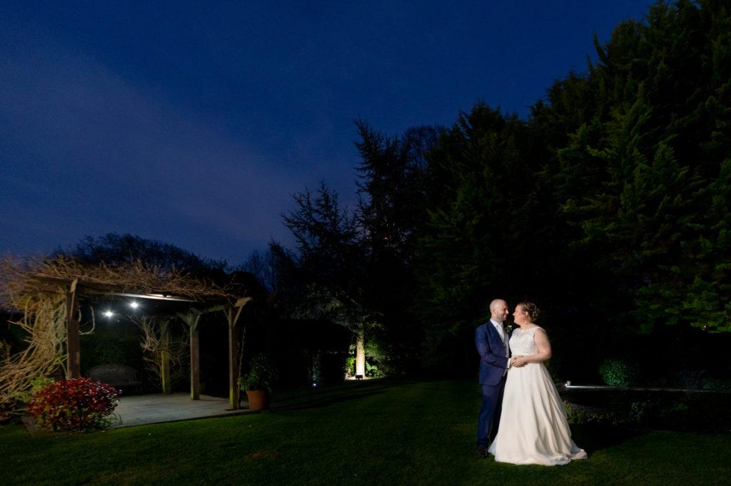 bride groom night portrait oaks farm gardens surrey oxford wedding photographers