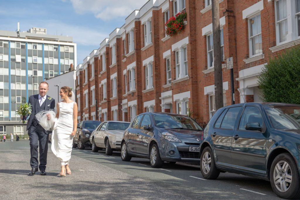 30 bride and father walk to st marys church marylebone london oxford wedding photographer