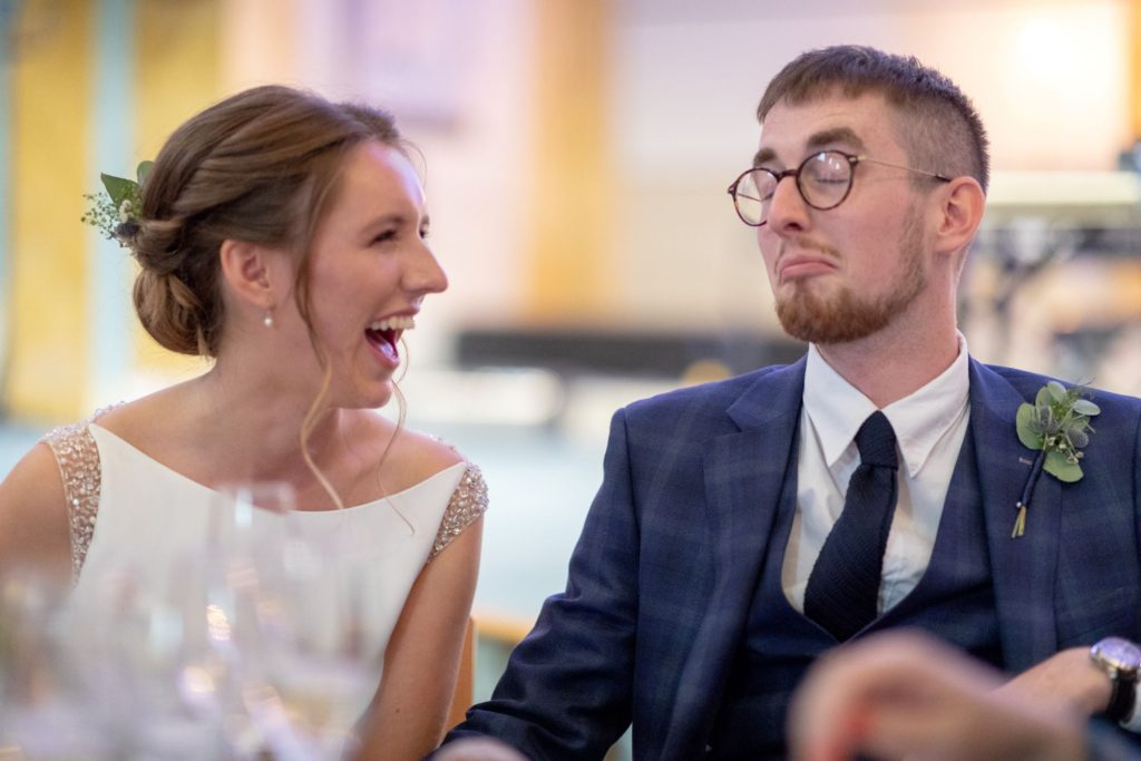 909 bride grooms reaction to top table speech st marys church marylebone london oxfordshire wedding photography