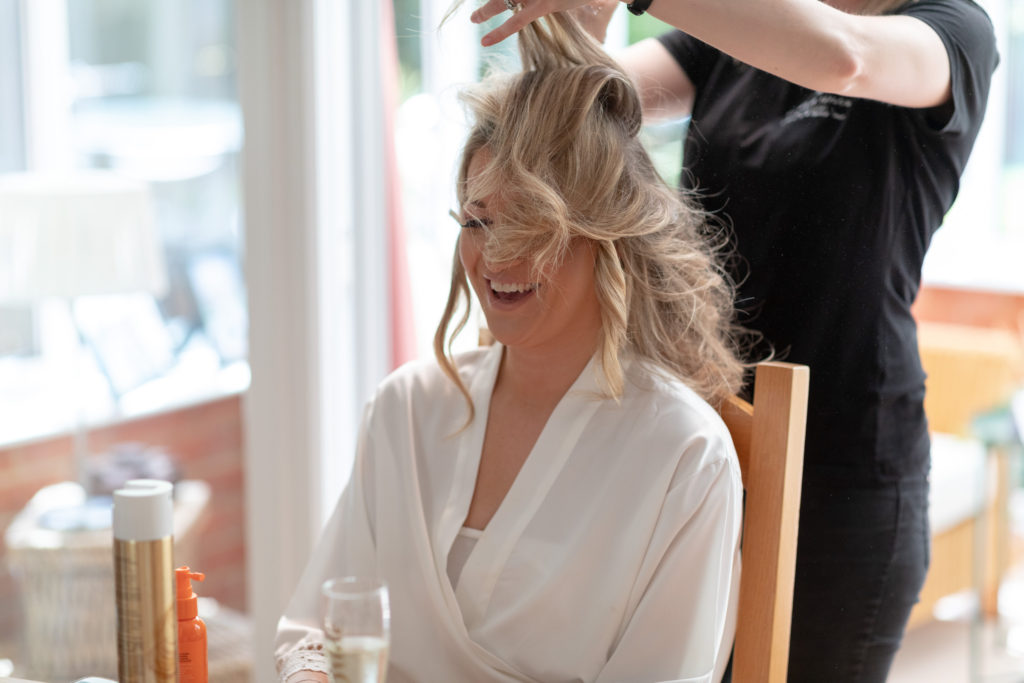 bride prep hairstyling the elvetham hartley wintney hampshire oxford wedding photography