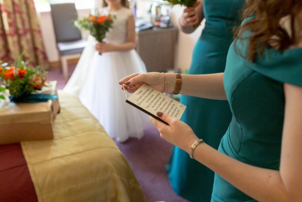 bridesmaids note ardencote luxury venue claverdon warwick oxford wedding photographer