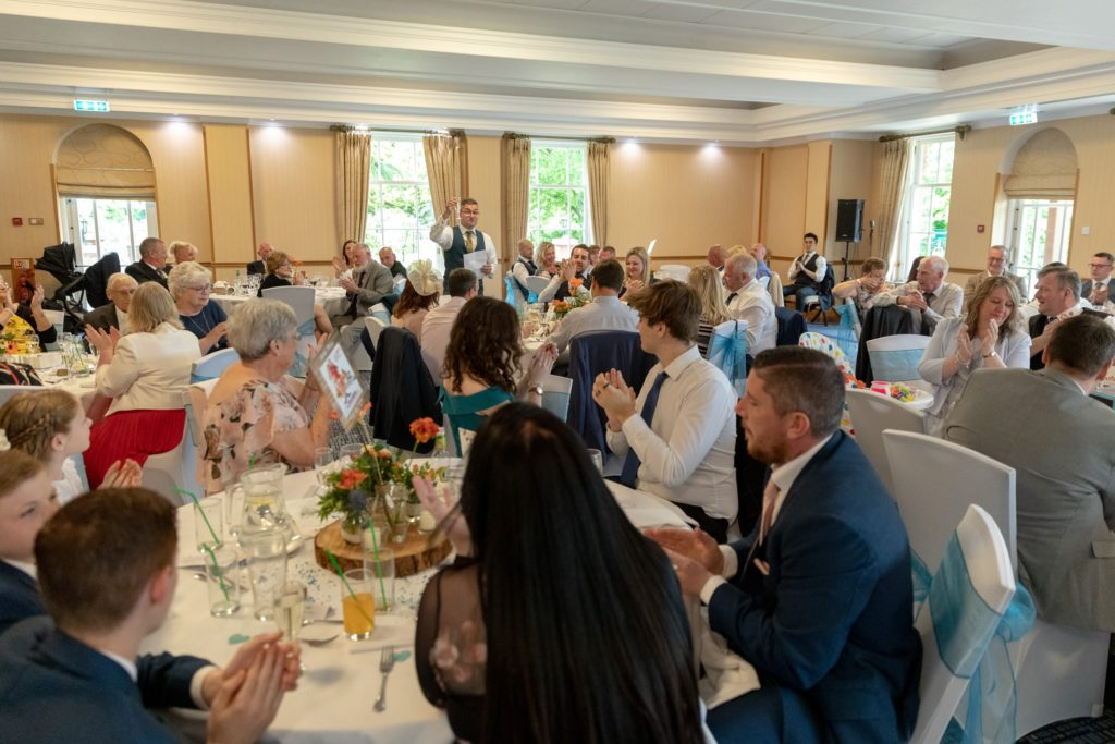 bestman toasts bride groom ardencote luxury venue claverdon warwick oxfordshire wedding photographer