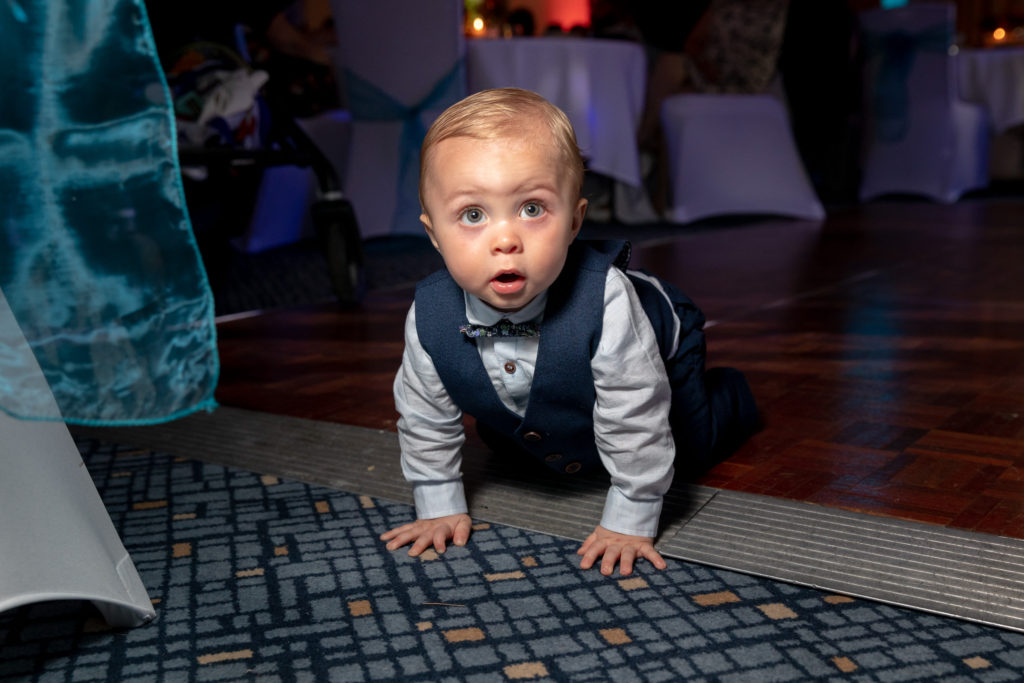 toddler crawls across dance floor ardencote luxury venue warwick oxford wedding photography