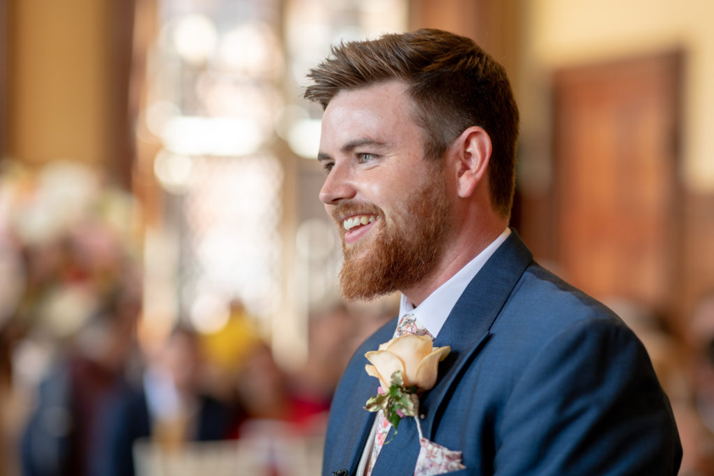 smiling groom marriage ceremony the elvetham hartley wintney hampshire oxford wedding photographer