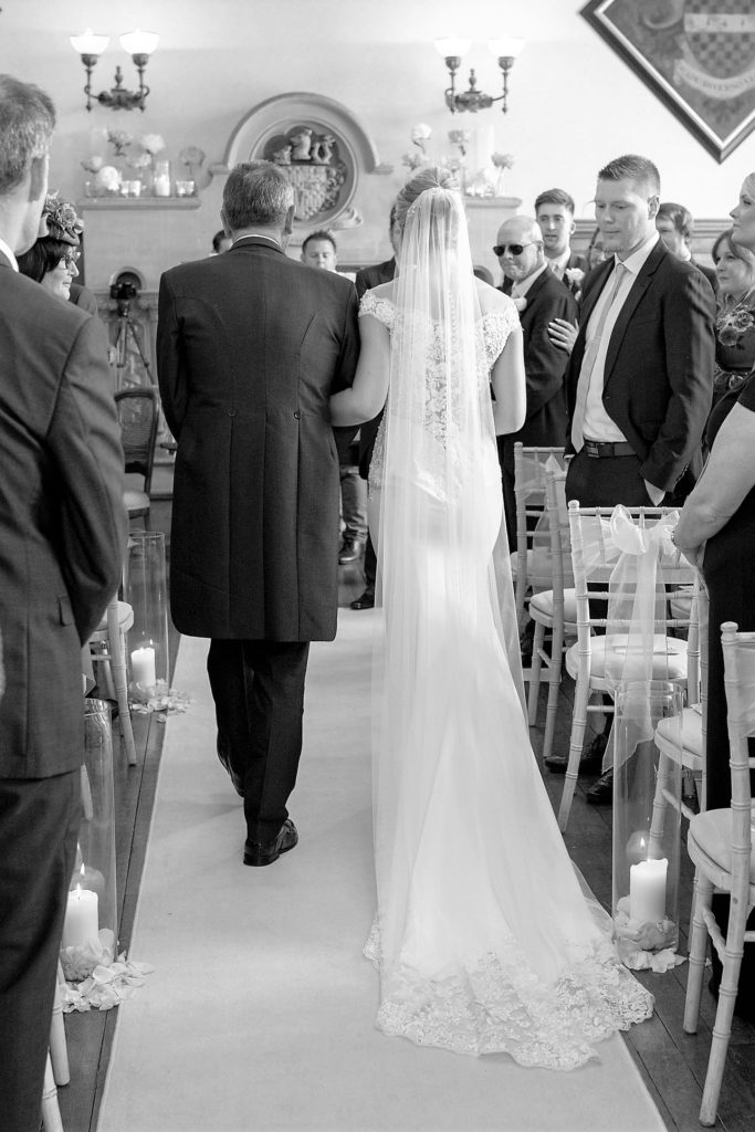 bride father of the bride walk down aisle the elvetham hartley wintney hampshire oxford wedding photography