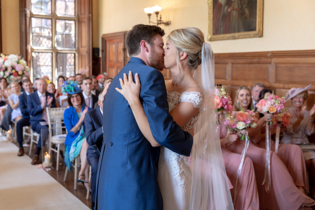 bride groom first kiss the elvetham luxury venue hartley wintney hampshire oxford wedding photographer