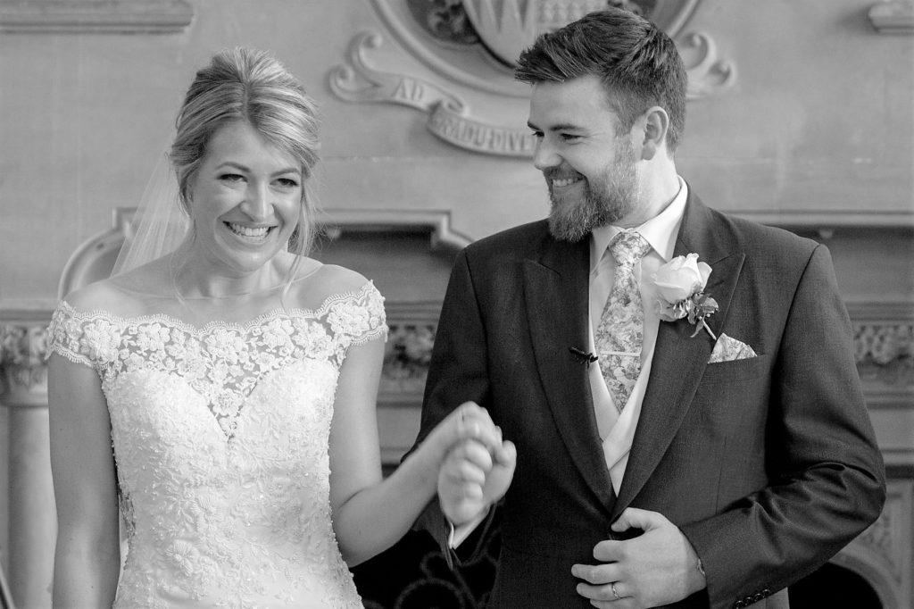 bride groom walk down aisle the elvetham hartley wintney hampshire oxford wedding photographers