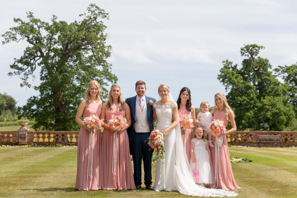 bride groom bridesmaids formal portrait the elvetham hartley wintney hampshire oxford wedding photography