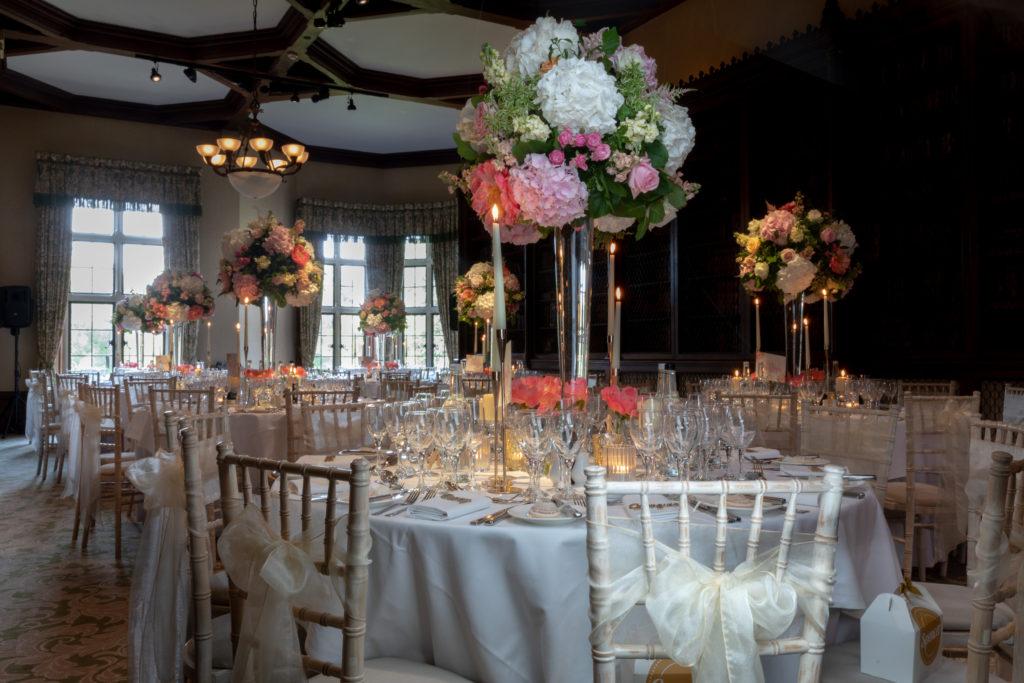 wedding breakfast floral arrangement tables the elvetham hartley wintney hampshire oxfordshire wedding photography