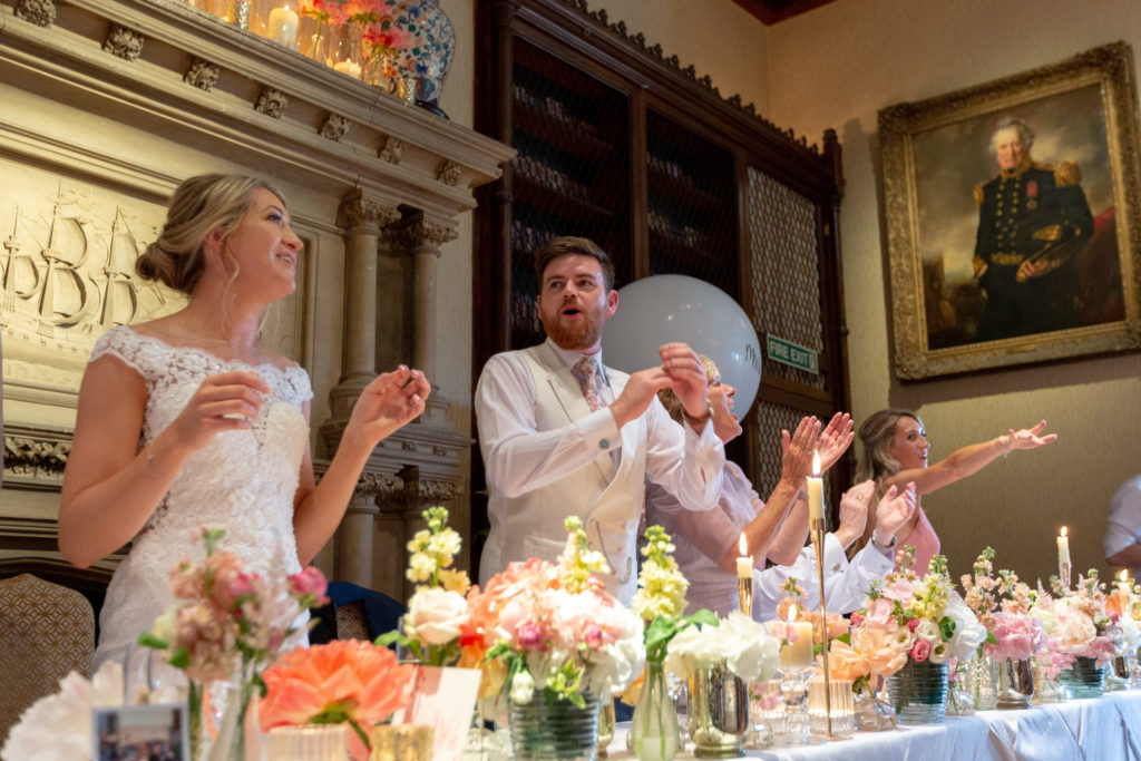singing bride groom top table guest the elvetham hartley wintney hampshire oxford wedding photographers