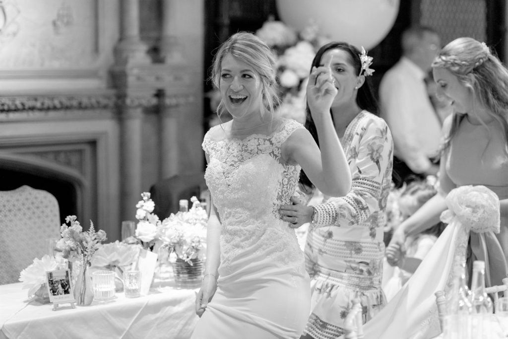 bride dances at wedding breakfast the elvetham hartley wintney hampshire oxford wedding photography