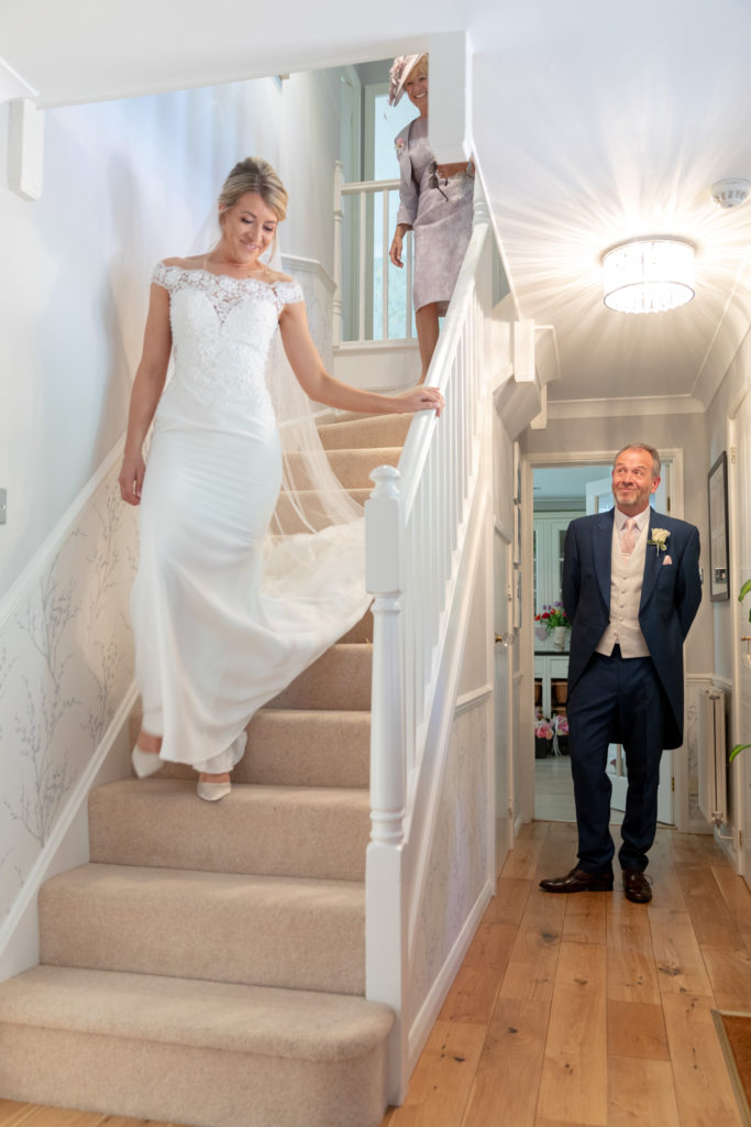 father of bride first look brides dress the elvetham hartley wintney hampshire oxfordshire wedding photographer