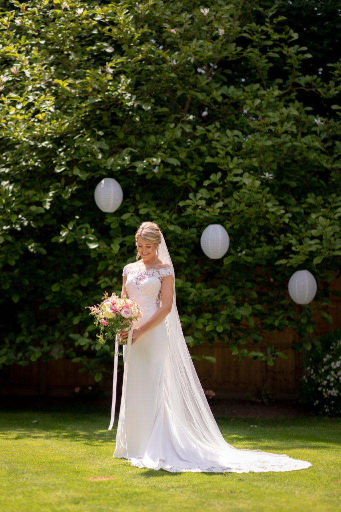 25 brides dress floral bouquet formal portrait the elvetham hartley wintney hampshire oxford wedding photographer