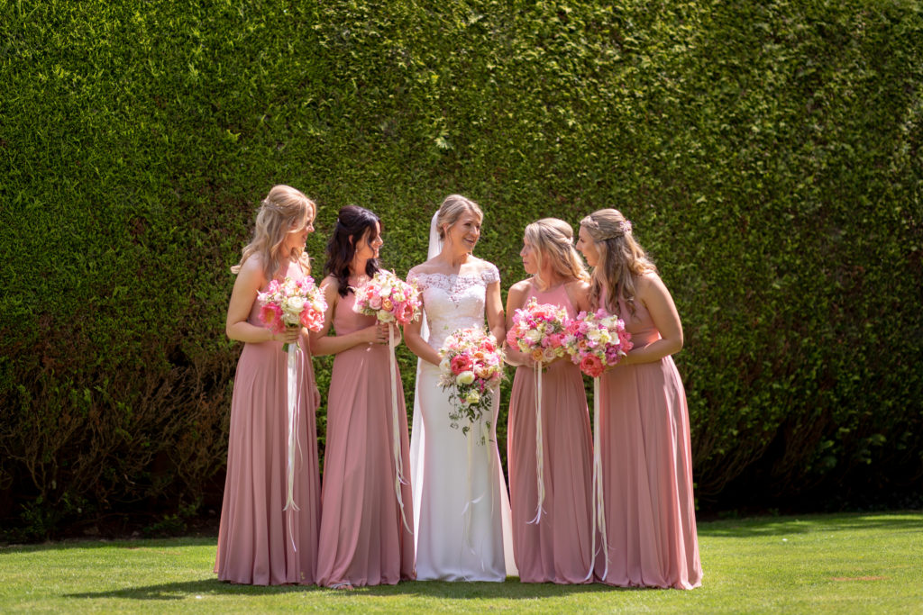 27 bride bridesmaid foral bouquets formal portrait the elvetham hartley wintney hampshire oxford wedding photography
