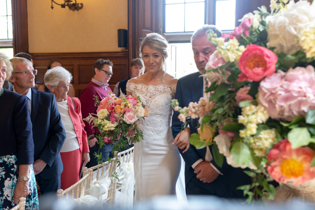 38 bride father of bride enter ceremony the elvetham hartley wintney hampshire oxford wedding photographers