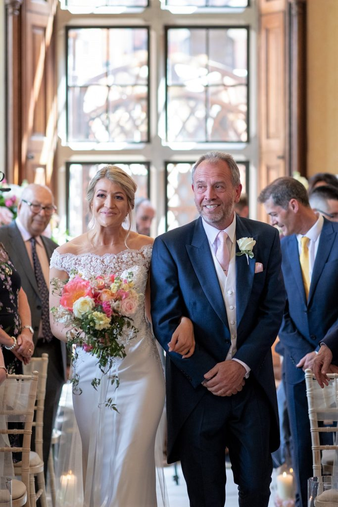 39 bride father of bride walk down aisle the elvetham hartley wintney hampshire oxford wedding photography