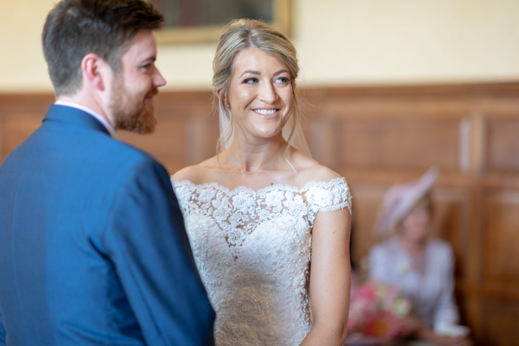 45 smiling bride groom marriage ceremony the elvetham hartley wintney hampshire oxford wedding photography