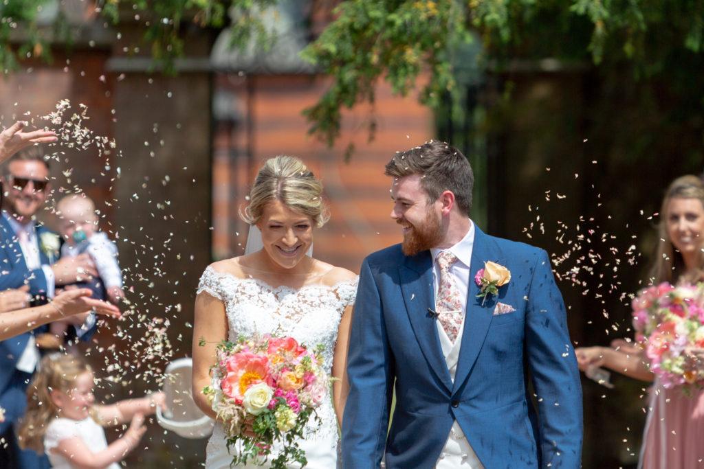 59 bride groom confetti shower the elvetham venue hartley wintney hampshire oxfordshire wedding photographers