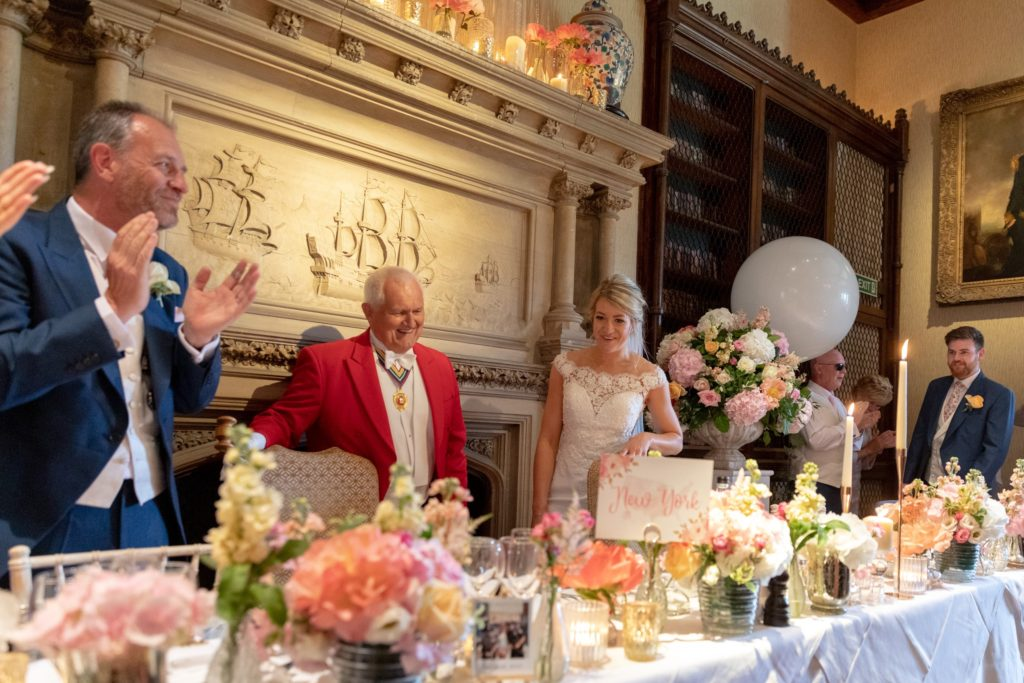 79 toastmaster top table guests applaud bride groom the elvetham hartley wintney hampshire oxford wedding photographer