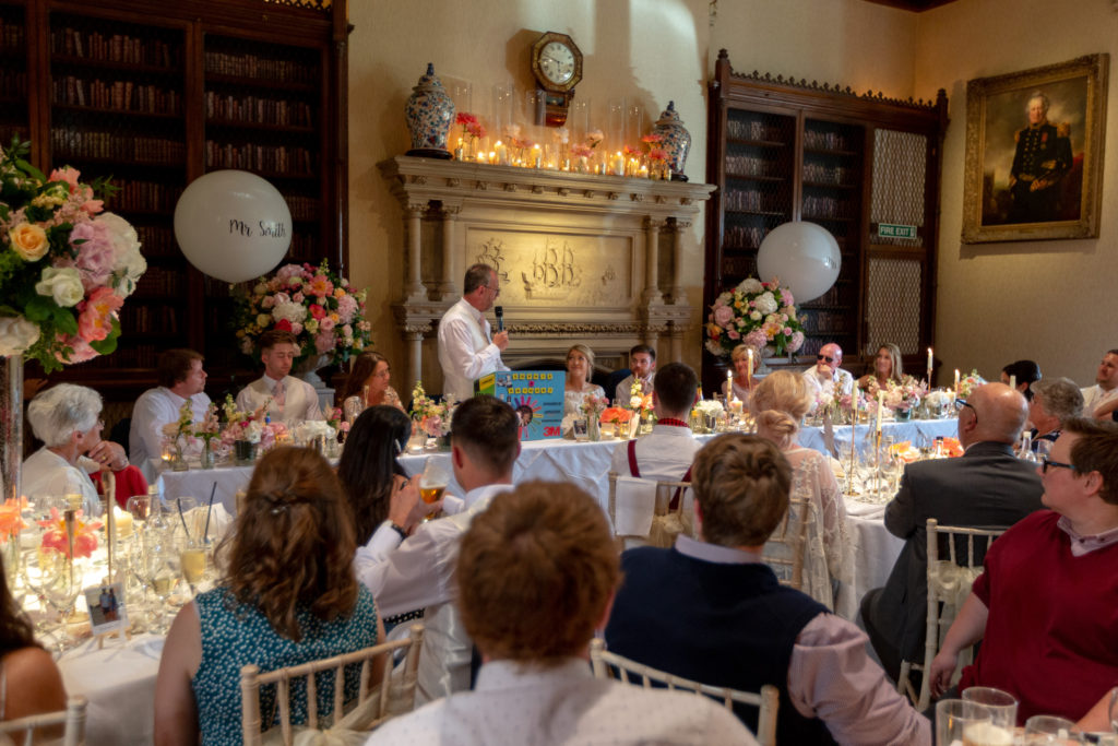 81 reception dinner guests hear father of bride speech the elvetham hartley wintney hampshire oxford wedding photography
