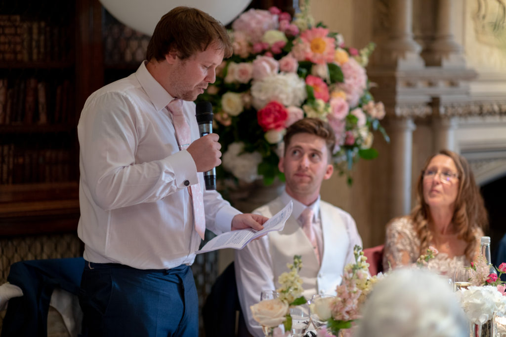 87 bestman top table dinner reception speech the elvetham hartley wintney hampshire oxford wedding photography