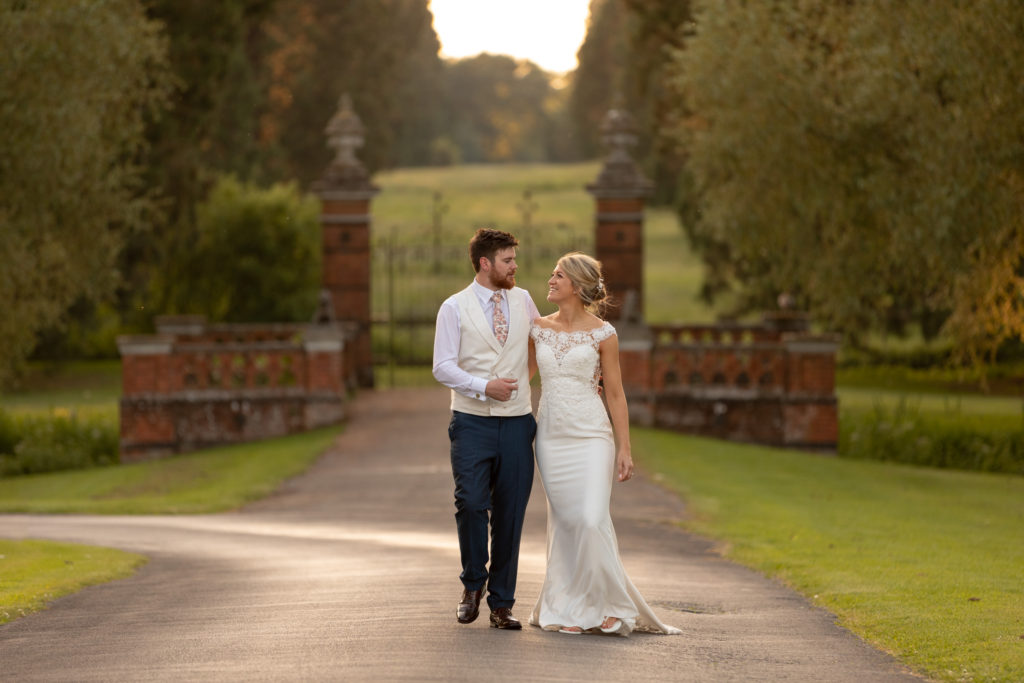 111 bride groom sunset stroll the elvetham grounds hartley wintney hampshire oxford wedding photography