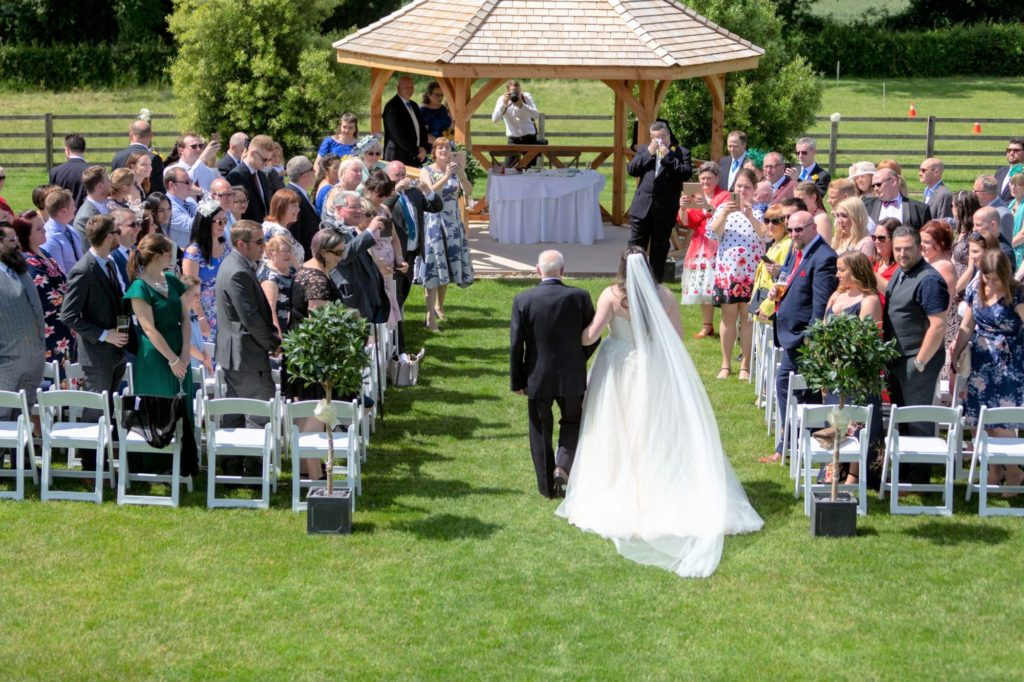 bride father of bride walk down aisle manor hill house swan lane upton warren bromsgrove worcestershire oxford wedding photography