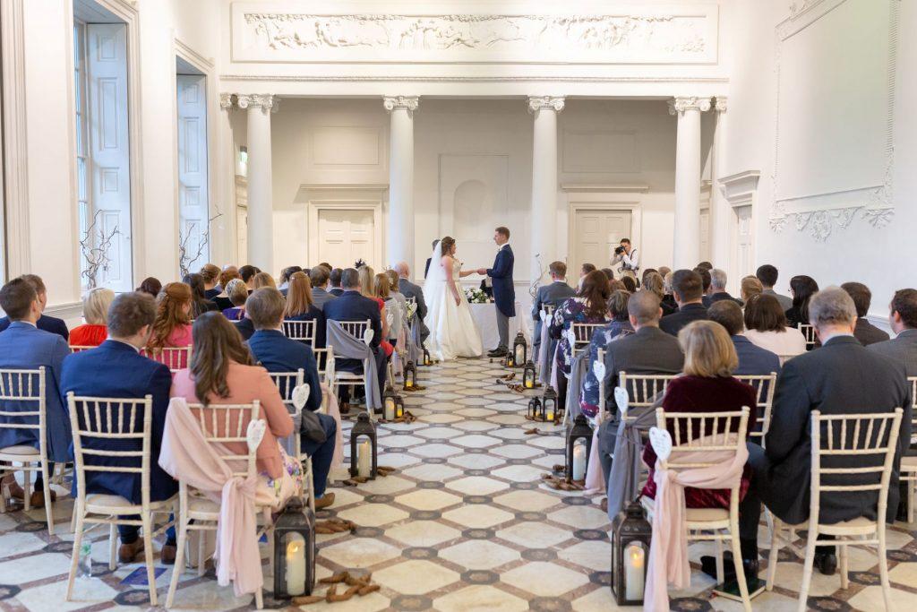 bride groom exchange vows marriage ceremony compton verney venue warwickshire oxford wedding photography