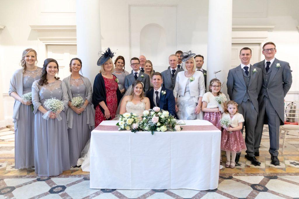 bride groom bridal party register signing portrait compton verney venue warwickshire oxfordshire wedding photographer