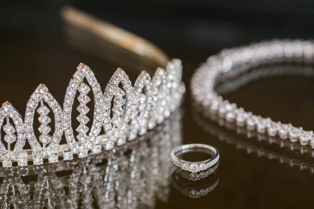brides ring tiara necklace marylebone hotel london oxfordshire wedding photographer