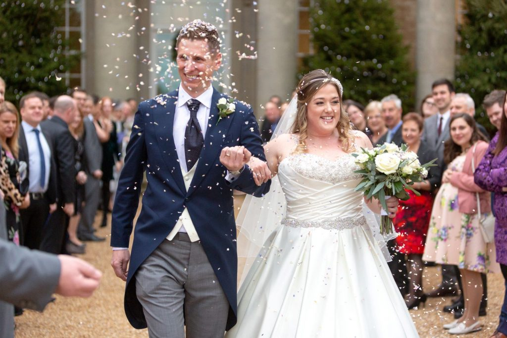 bride groom confetti shower compton verney venue warwickshire oxfordshire wedding photographers