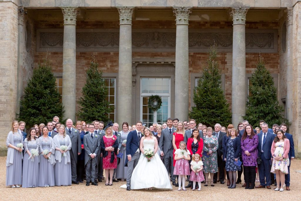 bride groom bridal party formal portrait compton verney venue warwickshire oxfordshire wedding photography