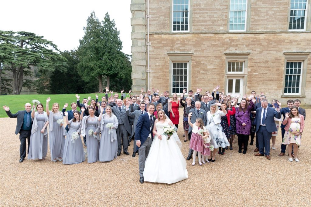bride groom bridal party waving compton verney venue warwickshire oxfordshire wedding photography