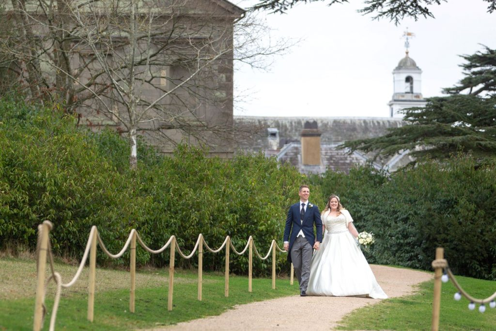 bride groom stroll grounds compton verney venue warwickshire oxford wedding photographer