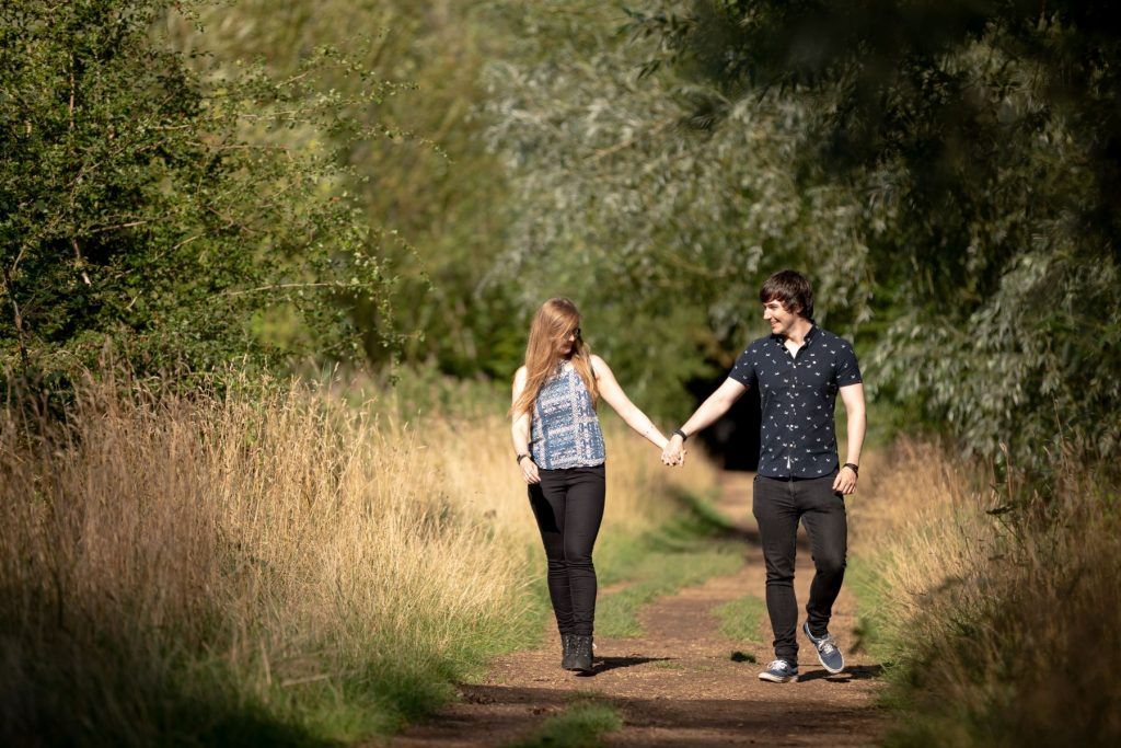 hayley ricky hold hands oxford engagement shoot oxfordshire wedding photography