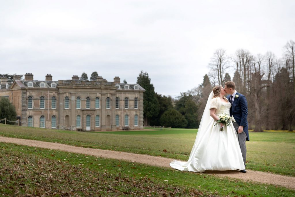 bride groom kiss compton verney venue grounds warwickshire oxford wedding photographers