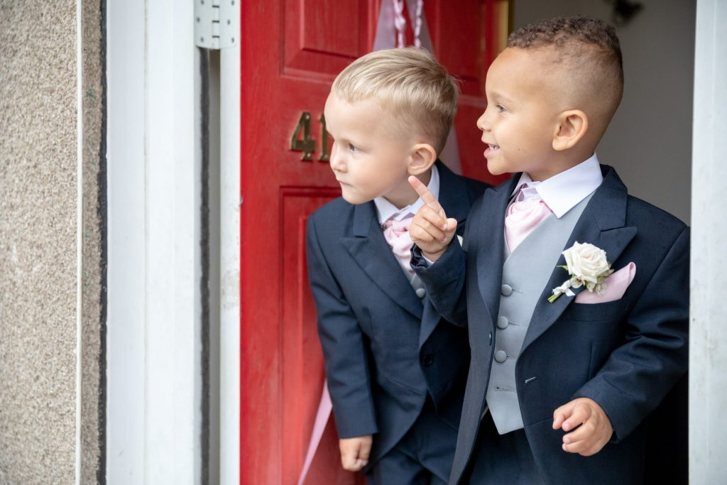 excited pageboys st marks church ceremony pensnett dudley west midlands oxfordshire wedding photographer