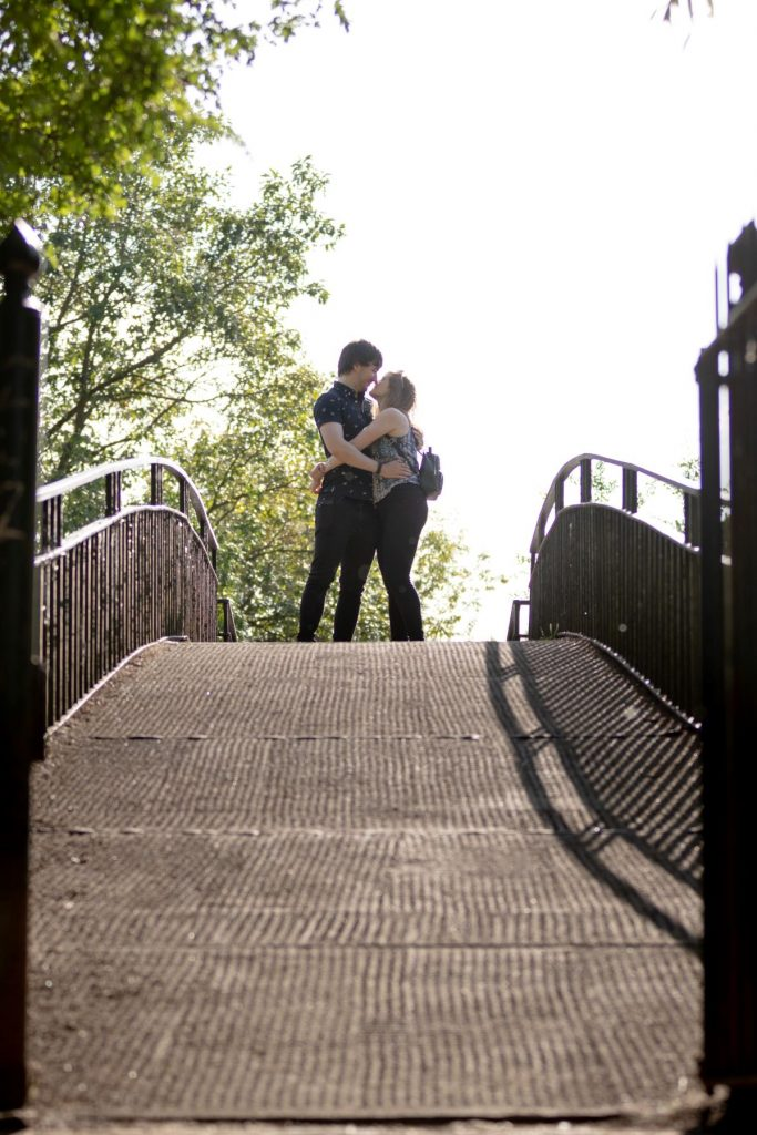 couple embrace engagement photo shoot oxford wedding photography