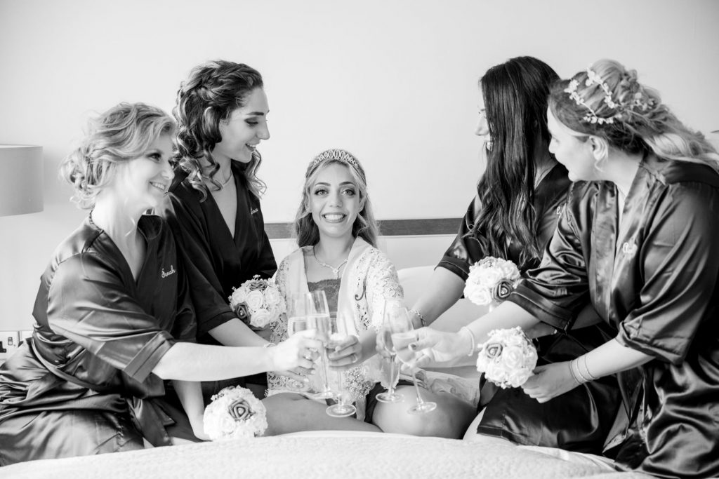 bridal prep bridesmaids toast bride marylebone hotel london oxford wedding photographer