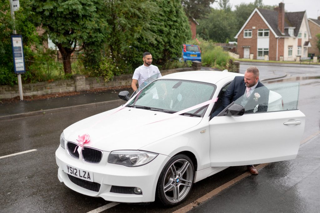 groom enters car st marks church ceremony pensnett dudley west midlands oxford wedding photographer