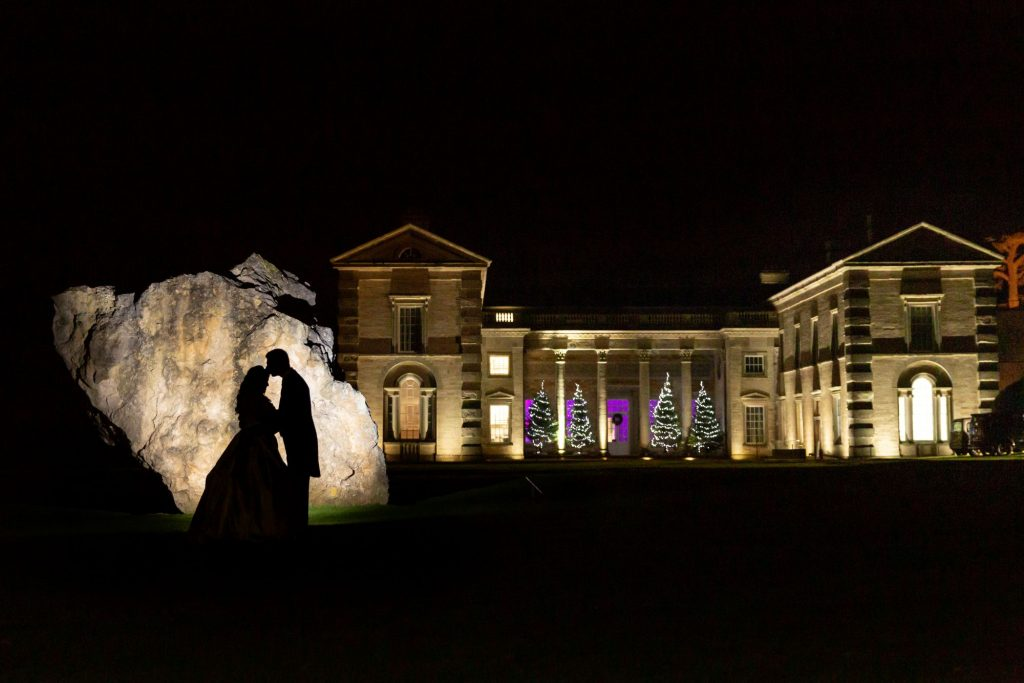 bride groom silhoutte kiss compton verney venue warwickshire oxford wedding photographers