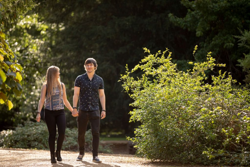 hayley ricky hold hands central oxford engagement photography session oxfordshire wedding photographer