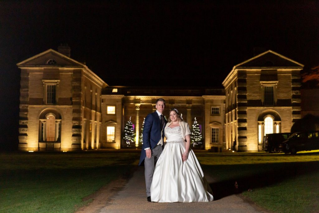 bride groom night portrait compton verrney venue grounds warwickshire oxford wedding photography