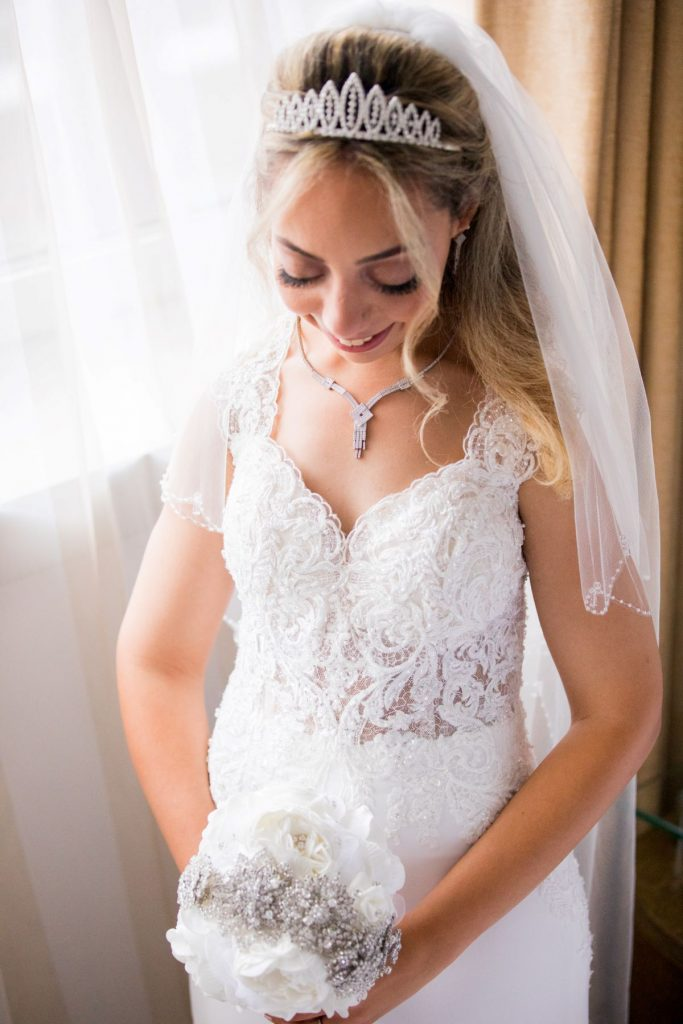 bride white dress veil tiara bouquet marylebone hotel london oxford wedding photographer