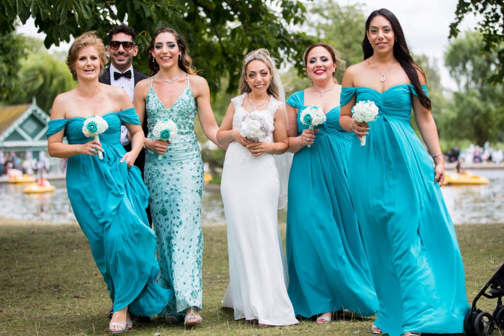 bride bridesmaid floral bouquest london boating lake oxfordshire wedding photography