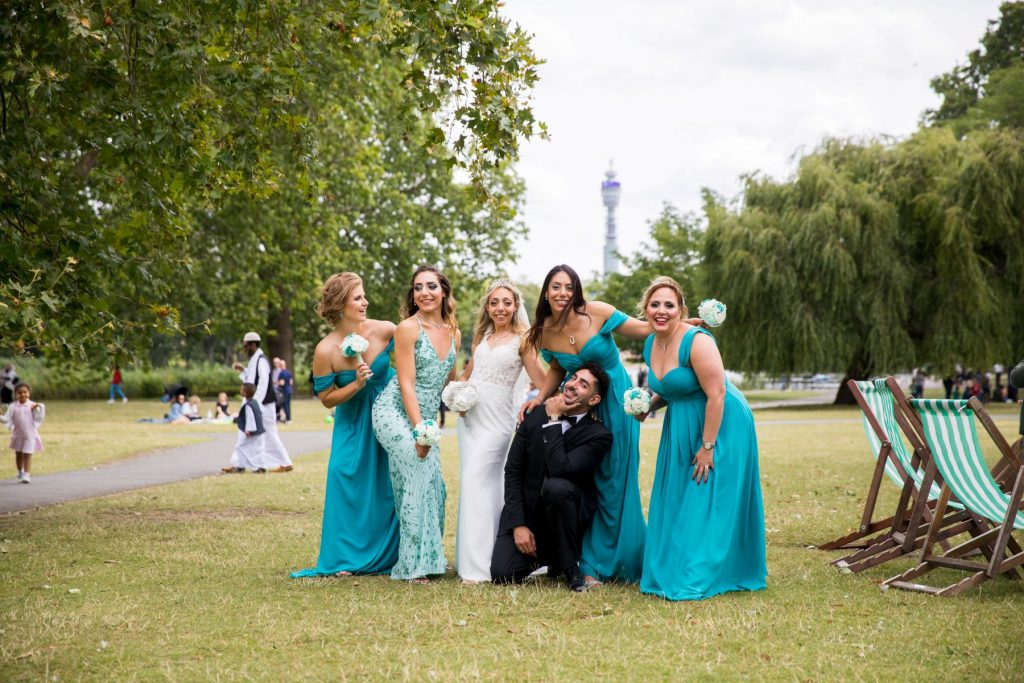 bridal party pose before bt tower london oxford wedding photographer
