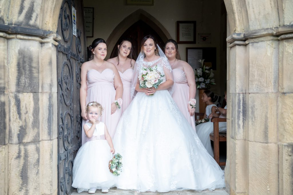 bride bridesmaid flowergirl church door st marks pensnett dudley west midlands oxfordshire wedding photographers