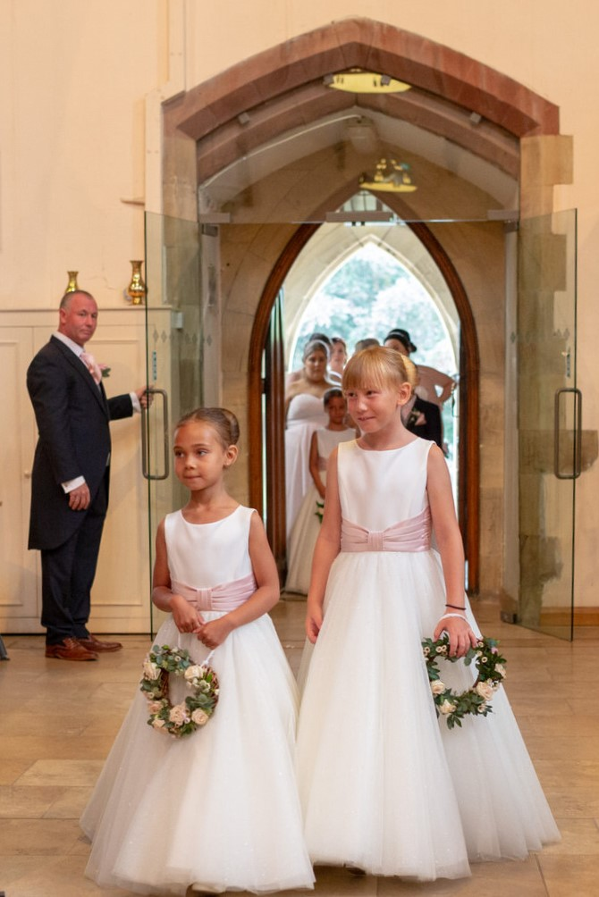 flowergirls enter church marriage ceremony st marks pensnett dudley west midlands oxford wedding photography